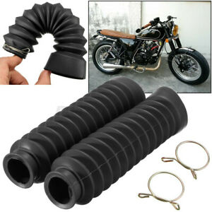 Pair Motorcycle Rubber Front Fork Dust Cover Gaiters Gaitors Boots Shock