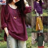Women's Plus Size Long Sleeve Cotton Linen Blouse Loose Baggy T-Shirt Tops S-5XL