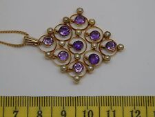 Vintage Solid 14 Carat Yellow Gold seed Pearl and amethyst Necklace Victorian