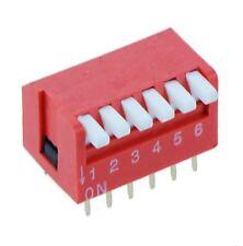 5x 6-Way interruptor DIP DIL ROJO PCB de piano