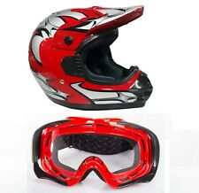 Casco per moto da cross enduro omologato C.E. con + occhialoni taglia XL 61 cm