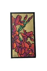 """Lisah Horner ORIGINAL Linocut Hand Colored """"Glads"""" SIGNED"""