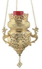 Large 3 Chain Hanging Brass Vigil Lamp Christian Orthodox Church Kandili New!
