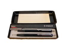 Parker 03772 Vector Pen & Pencil Set, Knurled Grip, 0.5mm, Black/Silver, Vintage