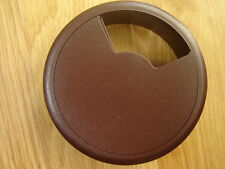 DARK BROWN - COMPUTER DESK CABLE TIDY OUTLET GROMMET 80MM INSERT