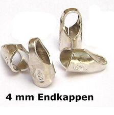 6x Endkappen 4 mm 925 Silber  Schmuckzubehör Kappen Hülsen