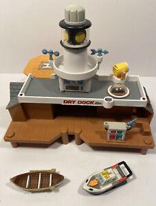 Vintage Galoob 1996 Micro Machines Exploration Harbor Rescue Center Incomplete