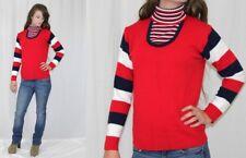 Vintage 70s Red White Blue STRIPED Turtleneck Retro Hippie Sweater JUMPER S M
