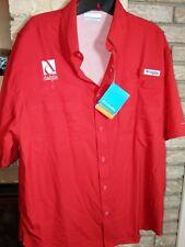 Columbia Pfg Mens Medium Red Short Sleeve Button Front Nwt