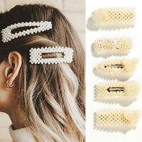 2PCS Women's Girls Pearl Hair Clip Hairpin Slide Grips Barrette Hair Accessories