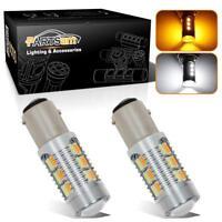 2x 1157 2057 7528 22-5730-SMD LED Turn Signal Amber/White Switchback Light Bulbs