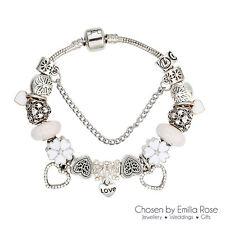 Silver Crystal Heart Charm Bracelet Rhinestone Charms Bangle Jewelry Gift