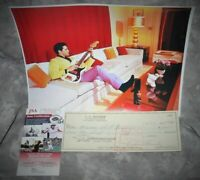 Leo Fender Signed 1965 Check w/ Elvis Presley Photo JSA Authenticated COA