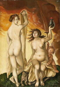 Hans Baldung Grien Two Witches Giclee Art Paper Print Poster Reproduction