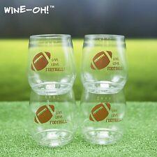 4-pk Wine-Oh! Designer BPA Free Plastic Shatterproof Wine Glass FOOTBALL