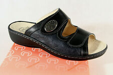 Turm Ladies Mules Slippers Sandals Real Leather Black