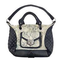 AIMEE KESTENBERG Womens Black Quilted Leather Snake Print Suede Purse Handbag