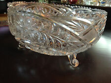 """Large Footed Cut Glass Round Bowl with Serrated Rim, 8 1/4"""" X  4 1/4"""""""