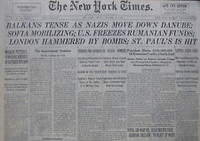 10-1940 WWII October 11 BALKANS TENSE GERMANS MOVE DOWN DANUBE; SOFIA MOBILIZING