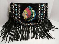 KurtMen Design Embroidered Chief Fringe Embellished Black Handbag