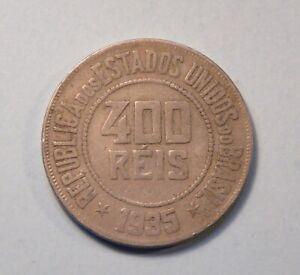 1935 Brazil 400 Reis Liberty Copper Nickel Coin South America Key Date Rare