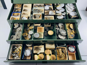 HUGE Pocket Watch Parts Repair box movements springs cases WOW bridge plates