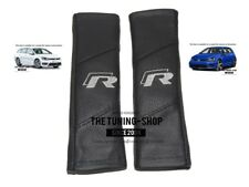 """2x Seat Belt Covers Pads Leather """"R-line"""" Grey Embroidery For VW R-line"""