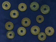 """CHINA 1736-1820  EARLY MINORS GROUP LOT OF (13) BRONZE """"CASH"""" COINS!"""