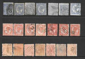 Stamps Queensland Queen Victoria x 21 Good/Fine Used, 1d, 2d