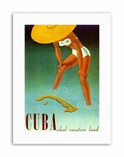 CUBA CARAIBI ISOLA TROPICALE Girl Mare Cappello POSTER viaggio tela art prints