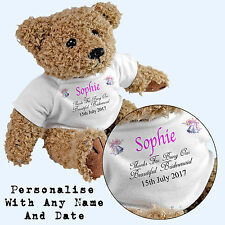 Personalised Bridesmaid Teddy Bear - Add Any Name / Date - Wedding Gift