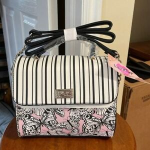 Luv Betsey By Betsey Johnson Butterfly Print Black & White Stripe Crossbody NWT
