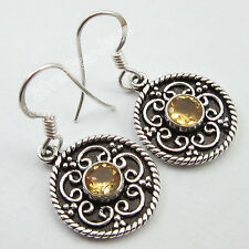 """ART NOUVEAU !! 925 Solid Silver YELLOW ROUND CITRINE OXIDIZED Earrings 1.3"""""""