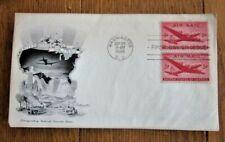 1946 AVIATION AIR MAIL STAMP BLOCK 5c RED PLANE #C42 ARTMASTER CACHET FDC UNADDR