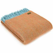 TWEEDMILL 100% Wool Sofa Bed Blanket HERRINGBONE Orange Blue GOLDEN OAK THROW