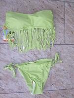 Bikini: Push Up Bandeau mit Fransen, Größe 36/38, limette, Octopus Beachwear