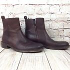 Michael Shannon Men's Ankle Boots Size 9 Brown Leather Side Zip Shoes Round Toe