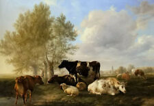 Oil painting thomas sidney cooper - meadows near canterbury cows cattles sheep !