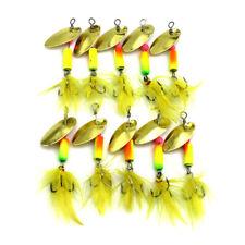 10PCS Spinnerbaits Spoon Bait 5.5cm/3.7g Metal Crankbait Fishing Lures Blade