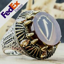 Turkish Handmade 925 Sterling Silver Amber Ottoman Elif Men's Ring All Sizes