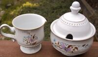 DENBY  LORRAINE  SUGAR  BOWL  WITH  LID  AND  CREAMER  SET STONEWARE