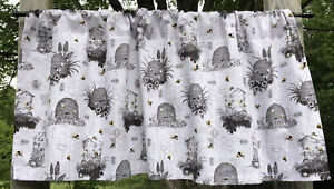 Bees Hives Bumblebee Beehive Rustic Gray Farmhouse Kitchen Curtain Valance Panel