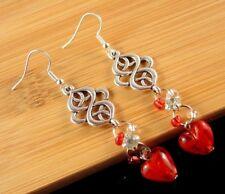 Bohemian Pair of Silver Tibetan Red Glass Heart Dangle Fashion Earrings #1648