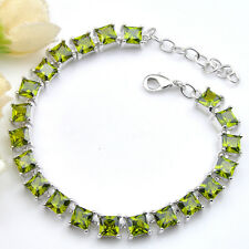 925 Sterling Silver Plated Natural Shiny Square Olive Peridot Gem Charm Bracelet