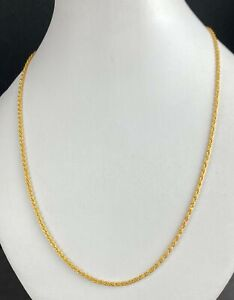 22k Chain Solid Gold Simple Thin Rope Design c0191