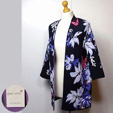 New PER UNA 3/4 Sleeve KIMONO Style CARDIGAN ~ Size S ~ NAVY MIX