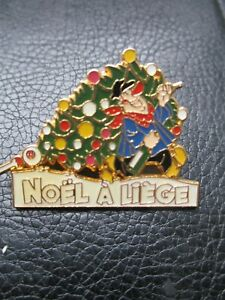Mittéi&Safe-Pin s collector-Emaillé-Noel a Liège-RARE-1992