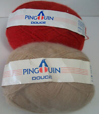 pingouin douce 10% mohair 10% wool 80% acrylic 300 gm red 195 gm tan yarn