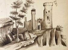 Château fort ruine Moyen âge Archéologie fortification médiévale lavis d'encre .