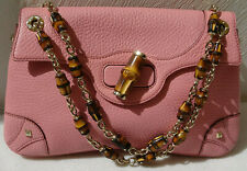 Gucci Handtasche Pink Pebbled Leather Bamboo Chain Evening Flag Bag - NEU -32-
